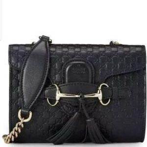 Gucci black leather Emily cross body, perfect
